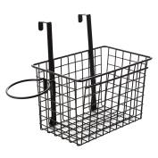 SHENGXIA Kitchen Bathroom Storage Organiser Basket Rack Holder Hanging Cabinet Wall Mounted Basket Black