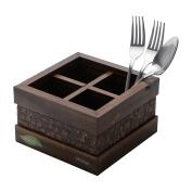 Woodart Wooden Cutlery Holder- Cutlery organiser, Flatware dividers, Kitchen organiser