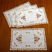 Violet Linen Orchid Embroidered Vintage Design Place Mat, 30cm x 46cm , White