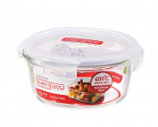 LOCK & LOCK Ovenglass Airtight Heat Resistant Glass Round Food Storage Container 650ml / 2.75-cup