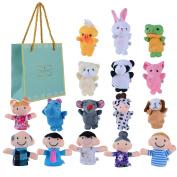 SHOBO 16 pcs Finger Puppets Set Novelty Educational Toys for Story Time, Shows, Playtime, Schools-10 Animals 6 People Family Members Included
