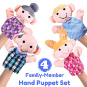 "Hand Puppet Set - 4 Family Member - Premium Quality, Big 14"" Inch Soft Plush Hand Puppets For Kids - Perfect For Storytelling, Teaching, Preschool, Role-Play 