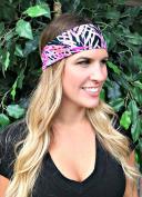 RAVEbandz Fashion Stretch Headbands (TROPIC NIGHTS) Non Slip Wide Hippie Sports & Athletic Headbands for Women & Girls