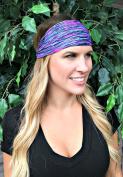 RAVEbandz Fashion Stretch Headbands (FEATHER FUSION) Non Slip Wide Hippie Sports & Athletic Headbands for Women & Girls