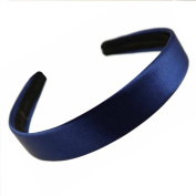 Wide Flat Navy Satin Alice band 2.5cm