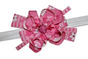 WD2U Deluxe Pink October Breast Cancer Awareness Support Hair Bow Headband