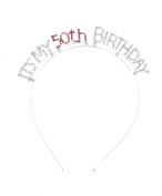 Crystal Ave Women's Birthday Pink Crystal Tiara Headband