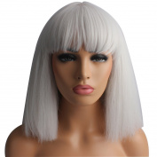 Riyang Women's Bob Wig Kinky Straight Short Hair Full Bangs Heat Resistant Silver Grey