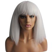 WeKen Women's Fashion Wig Short Bob Kinky Straight Full Bangs Synthetic Silver Grey
