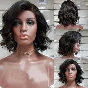 Brazilian Virgin Human Hair Lace Front Wig Glueless Short Wavy Lace Front Human Hair Bob Wigs with Baby Hair
