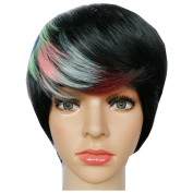KOLIGHT 22cm Fashion Realistic Colourful Short Straight Women Girls Replacement Cosplay Costume Hair Wigs-Free Cap+Comb