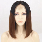 Ten Chopstics 1BT30 Silky Straight Short Human Hair Wigs Ombre Bob Wig Lace Front Wigs Two Tone Glueless Lace Wigs 100% Virgin Brazilian Hair for Black Women Natural Baby Hair