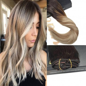 Sunny 46cm Balayage Clip In Hair Extensions Dark Brown to Medium Brown Highlights Blonde Hair Extesions Remy Human Hair 9PCS 140g/set
