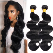 GEM Beauty Unprocessed Virgin Indian Hair Body Wave 3 Bundles Indian Remy Human Hair Weave Natural Black Mixed Length 14 16 46cm