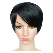 KOLIGHT 23cm Fashion Realistic Black Short Straight Women Girls Replacement Hair Wigs-Free Cap+Comb
