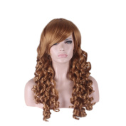 Yesui Long Curly Light Brown Wigs for Wommen Synthenic Cosplay Wig Party Costume Hair Lotia Style Wavy