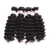"7A Brazilian Deep Wave 4 Bundles with Closure Unprocessed Virgin hair with 4""4"" lace closure free part"