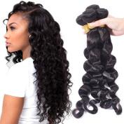 Loose Deep Wave Brazilian Hair Weave Bundles Deals Wet and Wavy Human Hair Bundles 100% Remy Hair Extension Bundles Natural Black Colour (100+/-5g)/pcs