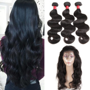 8A Indian Virgin Hair Body Wave with 360 Lace Frontal Closure 3pcs Body Wave Human Hair Pre Plucked 360 Lace Frontal with Bundles