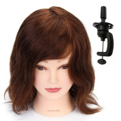 Neverland Beauty 30cm Mannequin Head 100% Human Hair Hairdresser Training Head Cosmetology Mannequins Head with Hair + Free Table Clamp NO.14