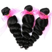 3 Bundles Brazilian Loose Wave Hair 8A Grade 100% Unprocessed Thick Virgn Hair Weave 60cm 70cm 70cm Natural Black 100g / Bundle