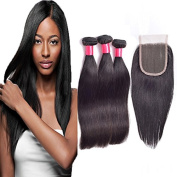 Fabc Hair Straight Wave 3 Bundles with One 4×4 Free Part Lace Closure Brazilian Human Virgin Hair Extension 10-70cm Mixe Length Natural Colour