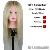Dreambeauty Hairdressing Training Heads 100% Real Human Hair Mannequin Styling Dolls Head 613# Blonde Colour