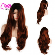 Korea Tech Lace Front Wigs 250% High Density Synthetic Wig Body Wave Black and Brown Wigs Free Part Heat Resistant Fibre Hair Wigs For Black and White Women