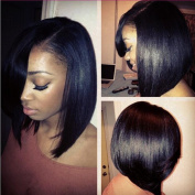 Glueless Lace Front Human Hair Short Wigs For Black Women Brazilian Human Hair Bob Lace Front Wig with Bangs