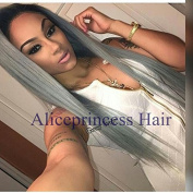 Aliceprincess Ombre Grey Full Lace Human Hair Wigs For black Women Two Tone Silver Grey Silky Straight Lace Front Wig With Baby Hair 130%Density