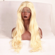 Stylistlee 250% High Density Synthetic Long Body Wave #613 Lace Front Wigs Free Part Heat Resistant Fibre Hair Wigs For Women