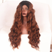 Stylistlee Two Tone 250% High Density Synthetic Long Nature Body Wave #30 Lace Front Wigs Free Part Heat Resistant Fibre Hair Wigs For Women