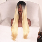 Stylistlee Two Tone 250% High Density Synthetic Natural Straight #613 Lace Front Wigs L Part Heat Resistant Fibre Hair Wigs For Women