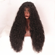 Stylistlee Synthetic Lace Front Wigs Nature Black Long Curly Water Wave 250% High Density Free Part Heat Resistant Fibre Hair Wigs For Women