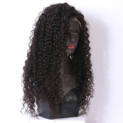 Oulaer Curly Deep Parting 13x 6 Lace Front Human Hair Wigs Pre Plucked Natural Hairline Full Lace Wigs With Baby Hair For Black Women Malaysian Virgin Hair 41cm Natural Colour