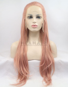 HEAHAIR New Style Peach Pink Synthetic Braided Straight Lace Front Wig HS0033
