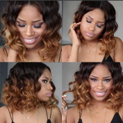 Glueless Two Tone Short Wavy Lace Front Ombre Human Hair Wig #1bT30 Brazilian Ombre Bob Lace Front Wigs for Black Women