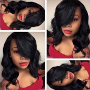 Virgin Brazilian Hair Lace Front Short Human Hair Wigs with Bangs Body Wave Glueless Lace Front Wig side bangs for Black Women