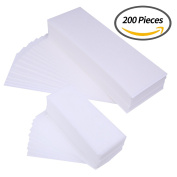 Senkary 200 Pieces Wax Strips Non Woven Waxing Strips Hair Removal Wax Strip Facial Body Leg Wax Strips Epilating Strips, Small and Large