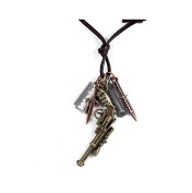 BodyJ4You Men Pu Leather Charm Necklace with Gun Pendant Jewellery