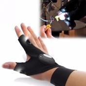 Working Glove,Castnoo Multipurpose Fingerless 2 Led Flashlight Glove for Hiking,Fishing,Camping