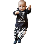 Keepfit Kids Infant Baby Boy Outfits Long Sleeve Letter Blouse Tops +Pants Clothes Set
