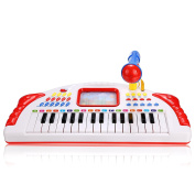 Baby Kids Electronic Organ Keyboard Piano with Microphone, Musical Educational Toys Knock Playing Birthday Gift