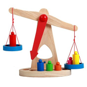 Cido Children's Wooden Balance Scales Weighing Balance Games Presents for Baby Toys
