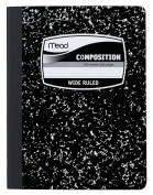 Mead Composition Book, Wide Ruled, 25cm x 19cm Sheet Size, Black Marble, Bookbound, 100 Sheets