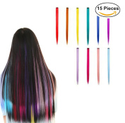 "Clip in Hair Extensions 55cm (21"") Multi-Colours Highlight Hair Extensions Fashion Hairpieces"