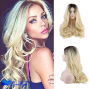 Eseewigs Synthetic Long Wave Ombre Wig Two Tones Black Rooted Blonde Heat Resistant Cheap Middle Part Wig 130% High Density for Women
