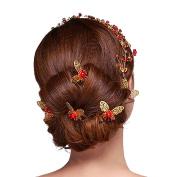 Bodhi2000 6 Pcs U-shape Butterfly Hair Pins Wedding Bridal Faux Pearl Hair Clips - Gold