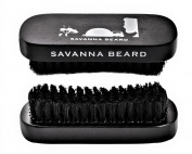 SAVANNA BEARD Grooming Beard Kit - 100% Pure Boar Bristle Brush & Green Sandalwood Dual Action Comb with PU Leather Case & Stainless Beard Nose Eyebrow Scissors - Travel Bag & Elegant box - Idea Gift