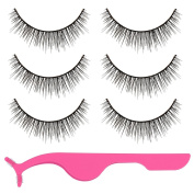 Lictin 3 Pairs of False Eyelashes Fake Eyelashes 3D False Eyelash False Eyelash Extensions False Eyelashes Natural with Pink Beauty Tool False Eyelashes Applicator Remover Clip Tweezer Nipper